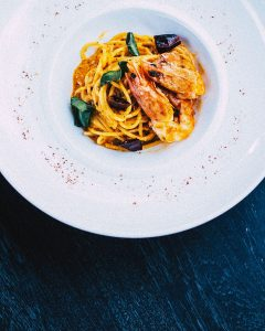 Seafood spaghetti in Italy