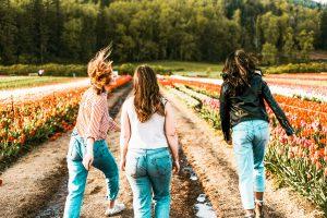 Three women in a tulip field