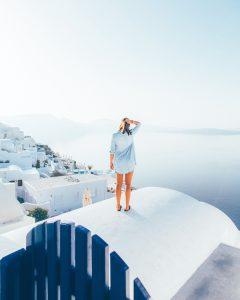 Woman in Santorini