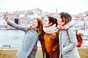 Three women taking a selfie in Portugal