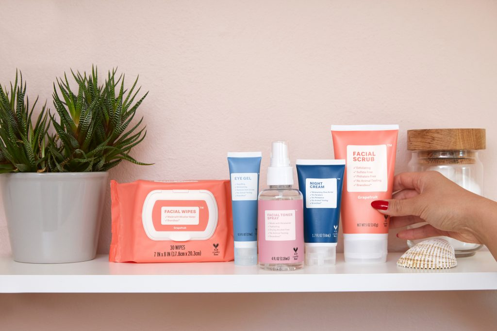 An assortment of the best travel skincare products.