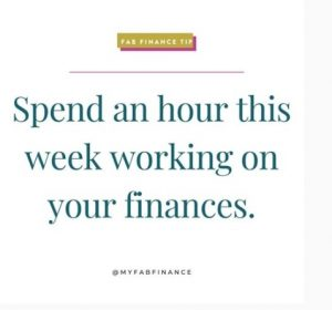 One of the Fab Finance Tip tiles on Instagram at @myfabfiance, a money blog and feed created by Tonya Rapley, bad ass woman to follow now.