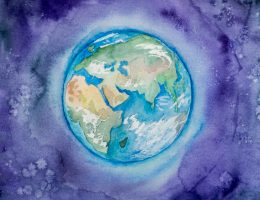 A watercolor image of Planet Earth to celebrate Earth Day 2020.